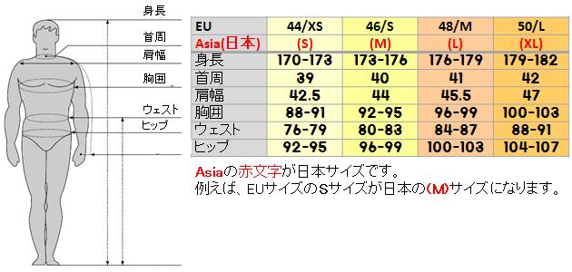 サレワのメンズのサイズ表(salewa mens size shart)